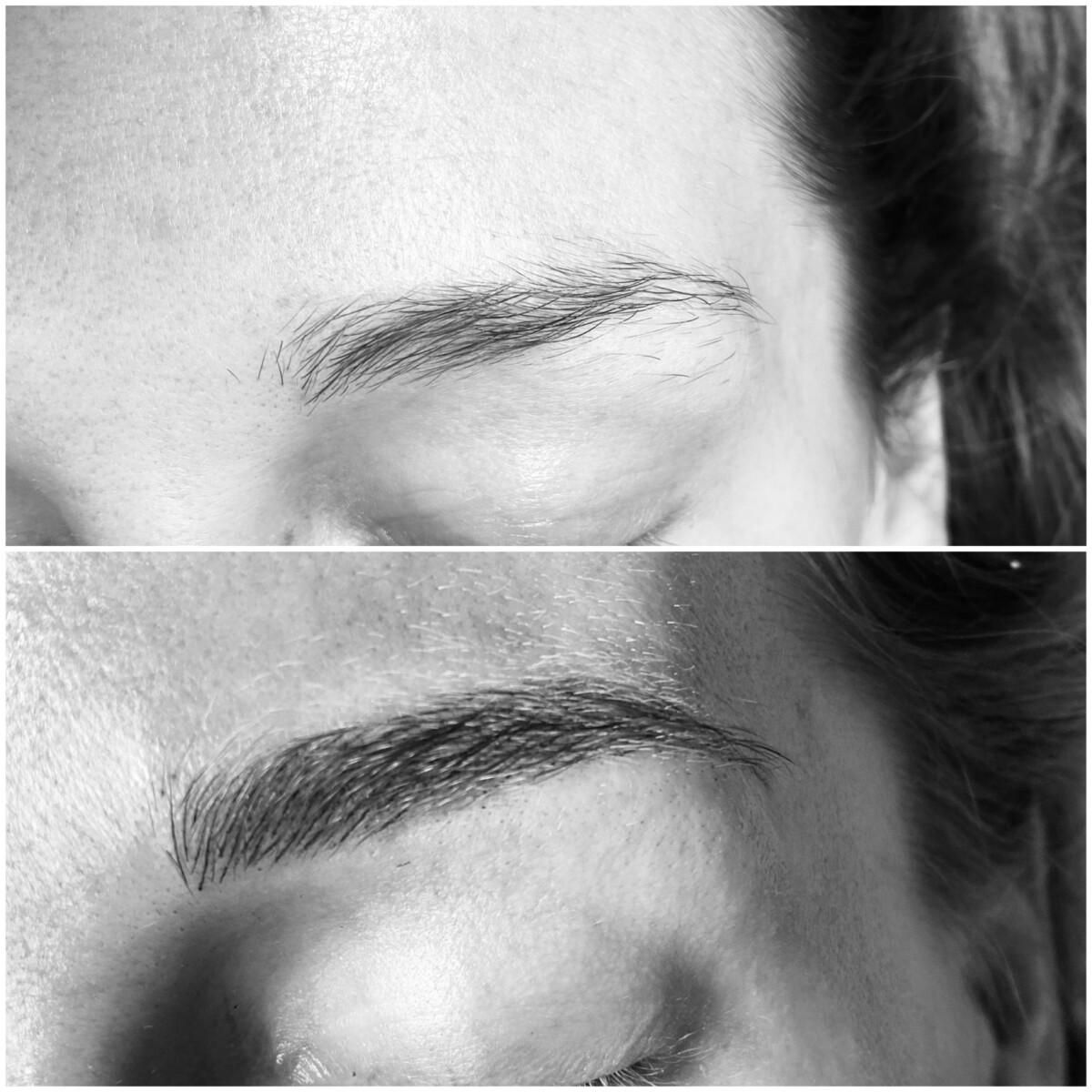 Microblading øyenbryn før og etter